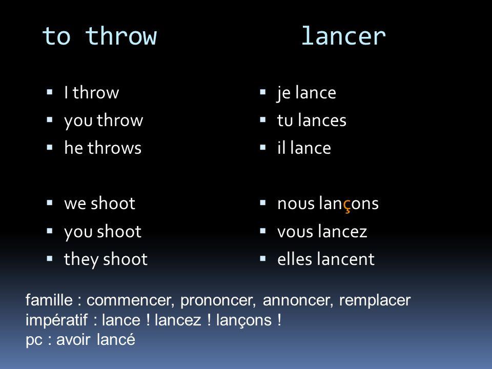 to throw lancer I throw you throw he throws we shoot you shoot they shoot je lance tu lances il lance nous lançons vous lancez elles lancent famille :