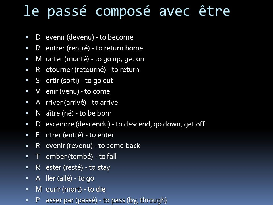 le passé composé avec être D R M R S V A N D E R T R A M P P evenir (devenu) - to become entrer (rentré) - to return home onter (monté) - to go up, get on etourner (retourné) - to return ortir (sorti) - to go out enir (venu) - to come rriver (arrivé) - to arrive aître (né) - to be born escendre (descendu) - to descend, go down, get off ntrer (entré) - to enter evenir (revenu) - to come back omber (tombé) - to fall ester (resté) - to stay ller (allé) - to go ourir (mort) - to die asser par (passé) - to pass (by, through) artir (parti) - to leave