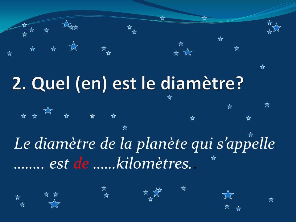 Le diamètre de la planète qui sappelle …….. est de ……kilomètres.. v