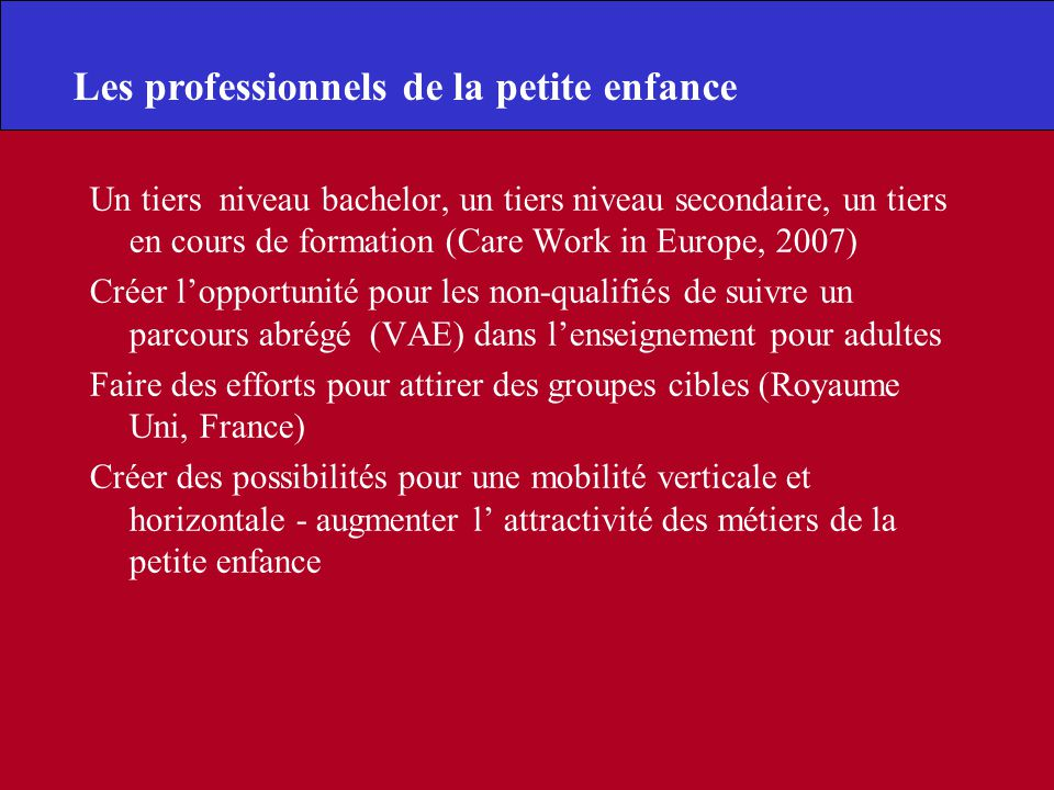 Un tiers niveau bachelor, un tiers niveau secondaire, un tiers en cours de formation (Care Work in Europe, 2007) Créer lopportunité pour les non-quali