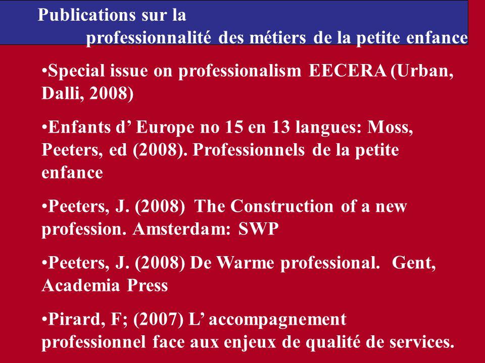 Special issue on professionalism EECERA (Urban, Dalli, 2008) Enfants d Europe no 15 en 13 langues: Moss, Peeters, ed (2008). Professionnels de la peti