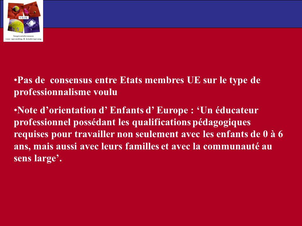 Pas de consensus entre Etats membres UE sur le type de professionnalisme voulu Note dorientation d Enfants d Europe : Un éducateur professionnel possé