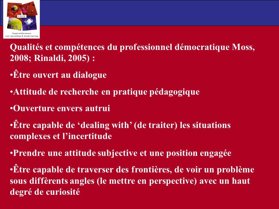 Qualités et compétences du professionnel démocratique Moss, 2008; Rinaldi, 2005) : Être ouvert au dialogue Attitude de recherche en pratique pédagogiq