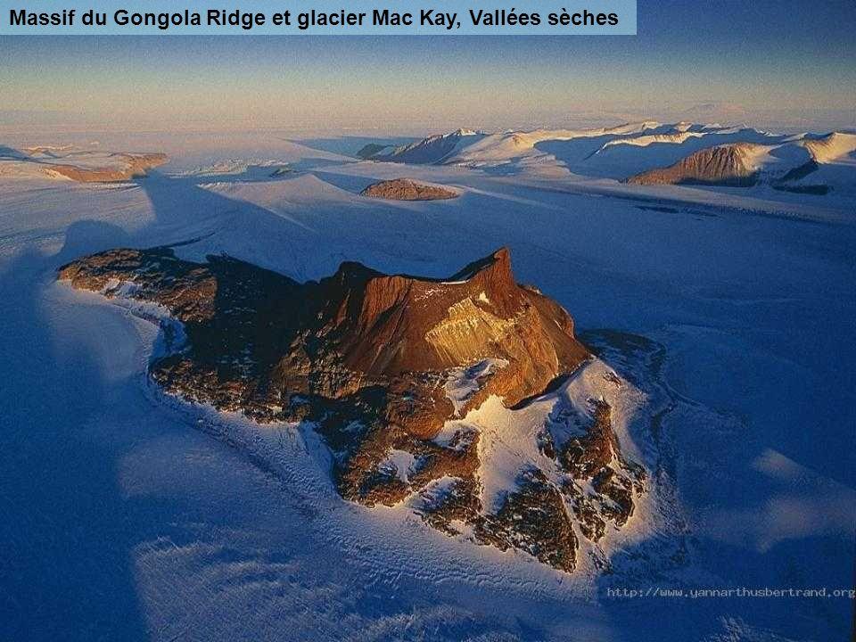 Glace sculptée par le vent au sommet du Mont Discovery, Antarctique (pôle sud) Au sommet de ce volcan éteint (2 681 m), la neige et la glace sont scul