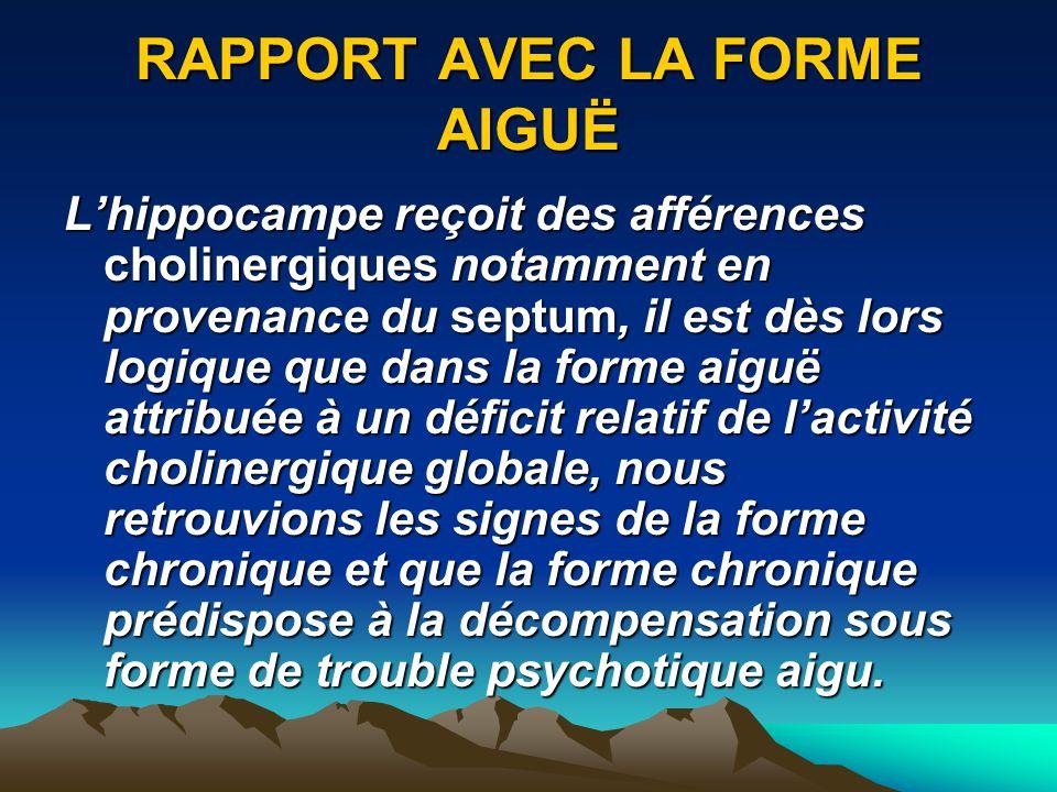 RAPPORT AVEC LA FORME AIGUË Lhippocampe reçoit des afférences cholinergiques notamment en provenance du septum, il est dès lors logique que dans la fo