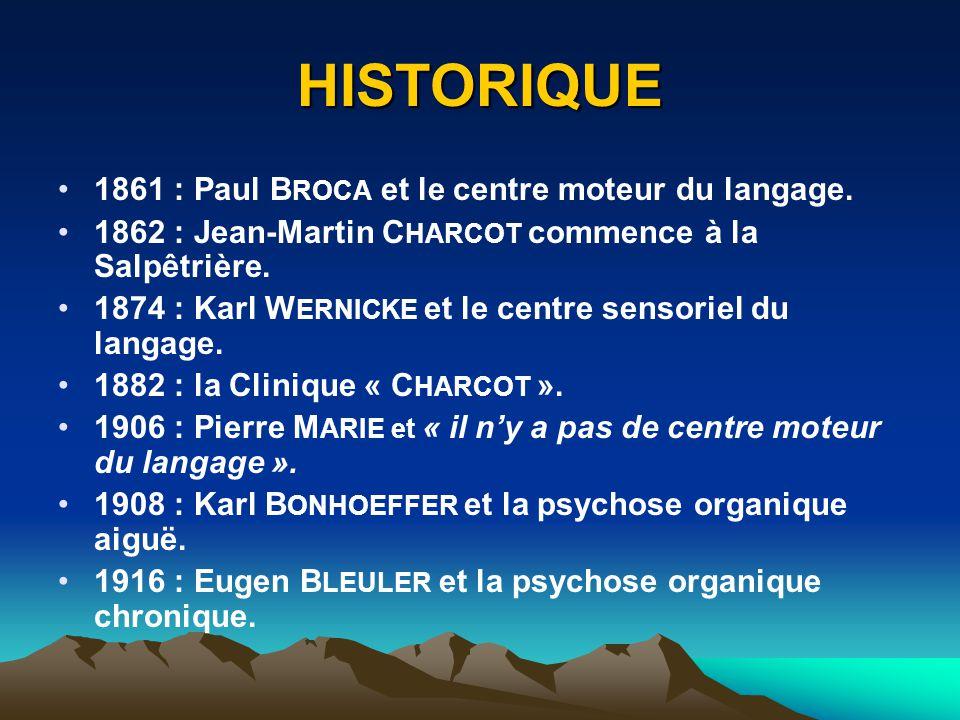 HISTORIQUE 1861 : Paul B ROCA et le centre moteur du langage. 1862 : Jean-Martin C HARCOT commence à la Salpêtrière. 1874 : Karl W ERNICKE et le centr