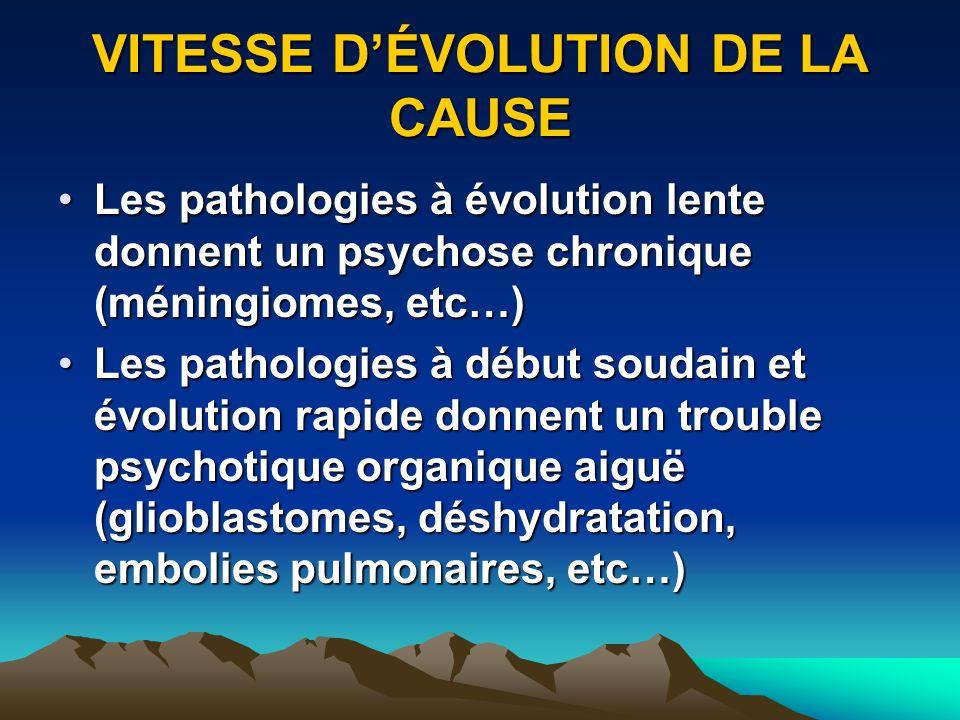 VITESSE DÉVOLUTION DE LA CAUSE Les pathologies à évolution lente donnent un psychose chronique (méningiomes, etc…)Les pathologies à évolution lente do