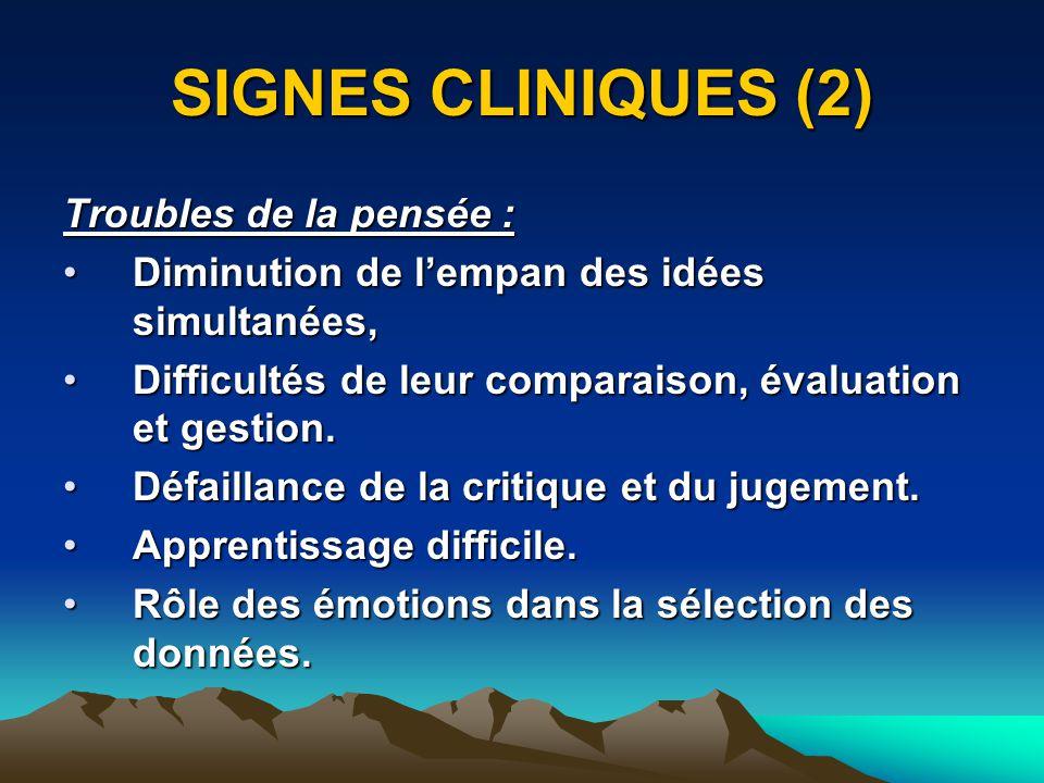 SIGNES CLINIQUES (2) Troubles de la pensée : Diminution de lempan des idées simultanées,Diminution de lempan des idées simultanées, Difficultés de leur comparaison, évaluation et gestion.Difficultés de leur comparaison, évaluation et gestion.
