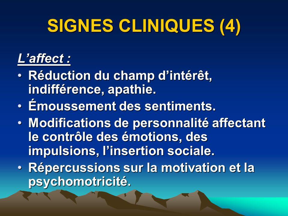 SIGNES CLINIQUES (4) Laffect : Réduction du champ dintérêt, indifférence, apathie.Réduction du champ dintérêt, indifférence, apathie. Émoussement des
