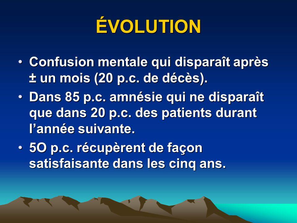ÉVOLUTION Confusion mentale qui disparaît après ± un mois (20 p.c. de décès).Confusion mentale qui disparaît après ± un mois (20 p.c. de décès). Dans