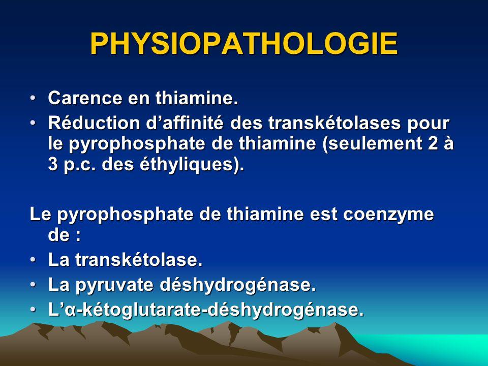 PHYSIOPATHOLOGIE Carence en thiamine.Carence en thiamine. Réduction daffinité des transkétolases pour le pyrophosphate de thiamine (seulement 2 à 3 p.