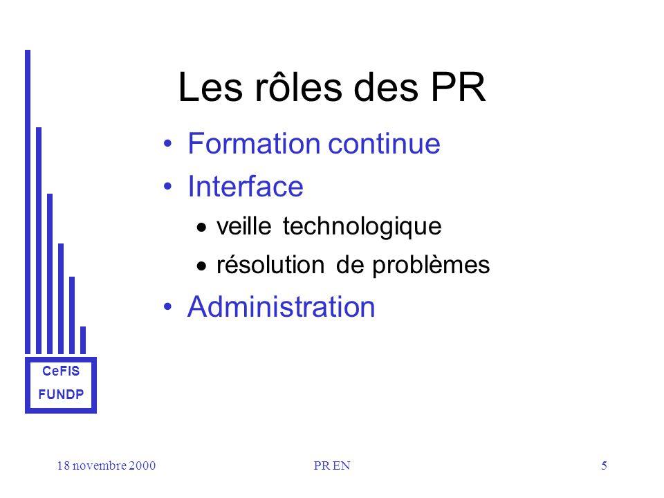 CeFIS FUNDP 18 novembre 2000PR EN5 Les rôles des PR Formation continue Interface veille technologique résolution de problèmes Administration