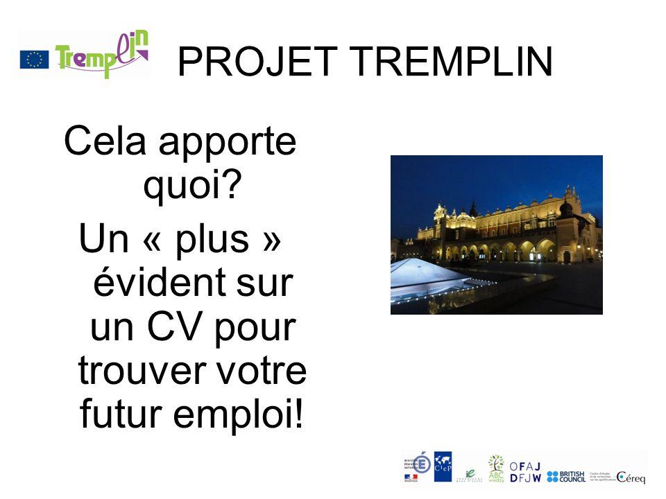 PROJET TREMPLIN Cela apporte quoi Un « plus » évident sur un CV pour trouver votre futur emploi!