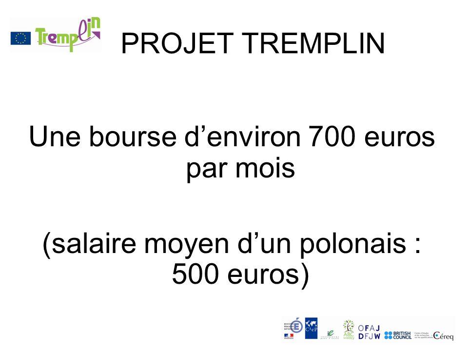 PROJET TREMPLIN Une bourse denviron 700 euros par mois (salaire moyen dun polonais : 500 euros)