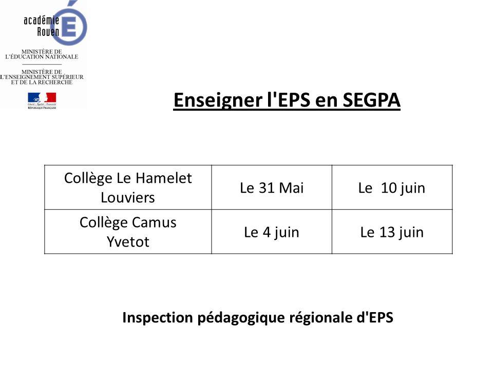 Enseigner l'EPS en SEGPA Collège Le Hamelet Louviers Le 31 MaiLe 10 juin Collège Camus Yvetot Le 4 juinLe 13 juin Inspection pédagogique régionale d'E