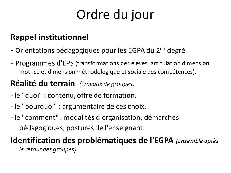 Ordre du jour Rappel institutionnel - Orientations pédagogiques pour les EGPA du 2 nd degré - Programmes d'EPS (transformations des élèves, articulati