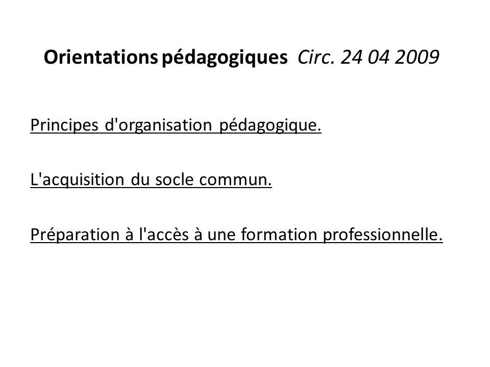 Orientations pédagogiques Circ. 24 04 2009 Principes d'organisation pédagogique. L'acquisition du socle commun. Préparation à l'accès à une formation