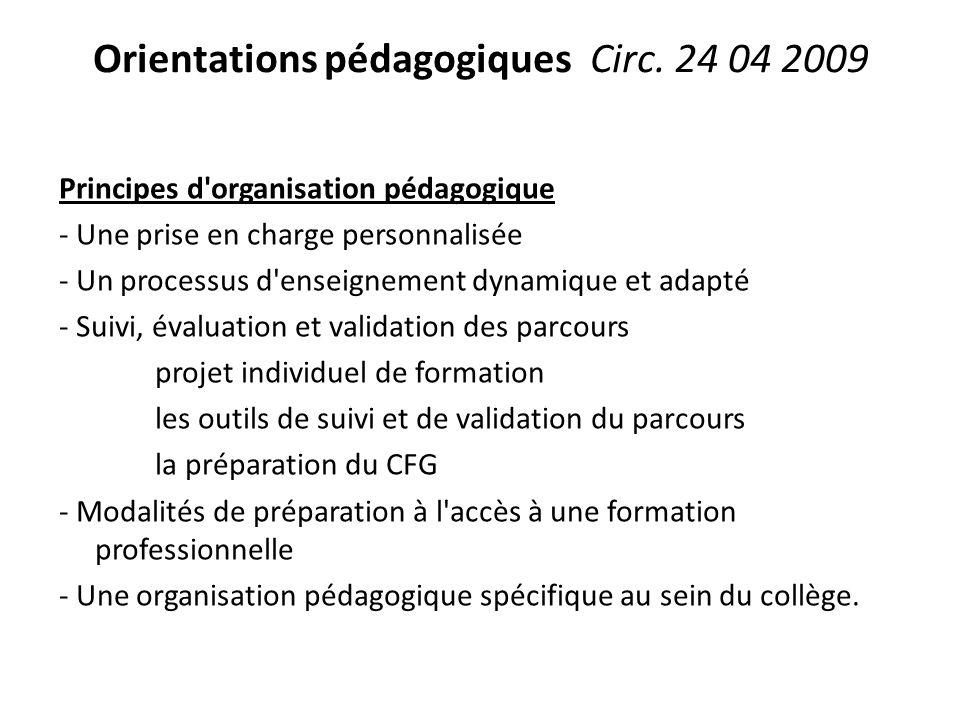 Orientations pédagogiques Circ. 24 04 2009 Principes d'organisation pédagogique - Une prise en charge personnalisée - Un processus d'enseignement dyna