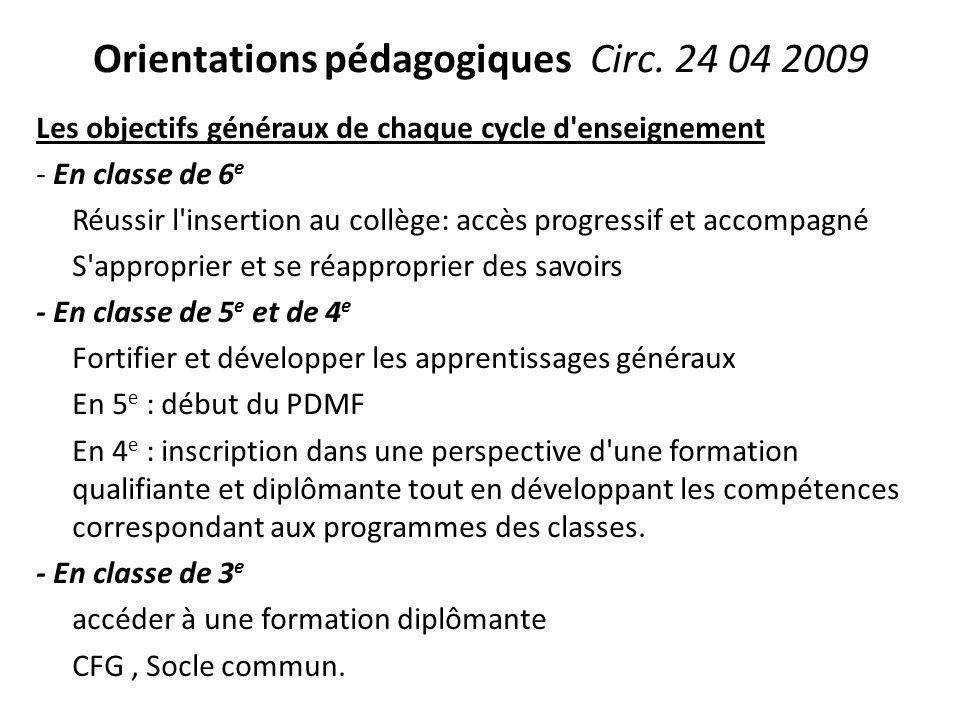 Orientations pédagogiques Circ. 24 04 2009 Les objectifs généraux de chaque cycle d'enseignement - En classe de 6 e Réussir l'insertion au collège: ac