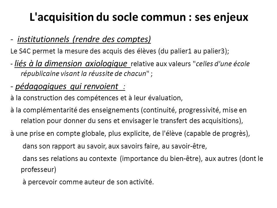 L'acquisition du socle commun : ses enjeux - institutionnels (rendre des comptes) Le S4C permet la mesure des acquis des élèves (du palier1 au palier3