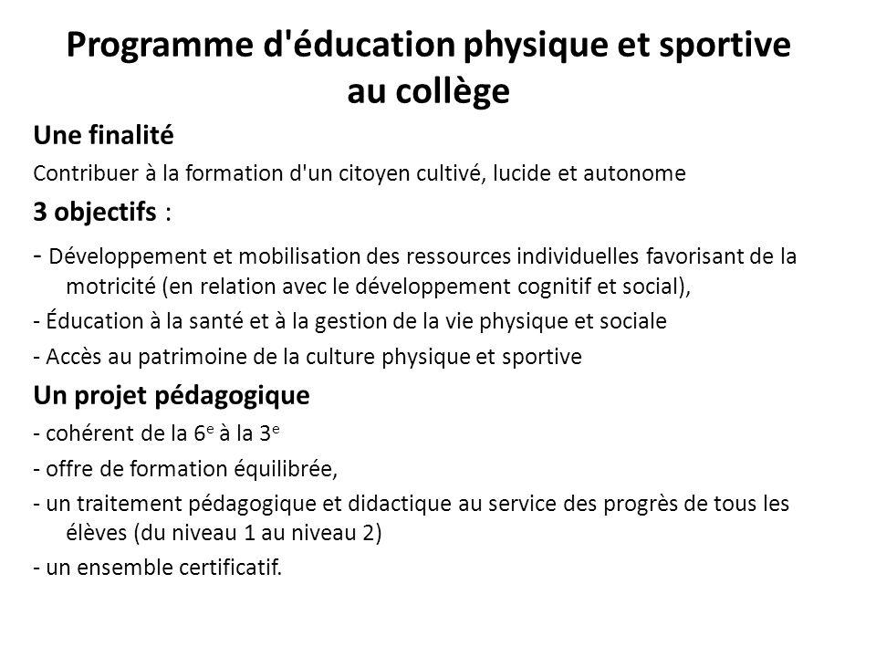 Programme d'éducation physique et sportive au collège Une finalité Contribuer à la formation d'un citoyen cultivé, lucide et autonome 3 objectifs : -