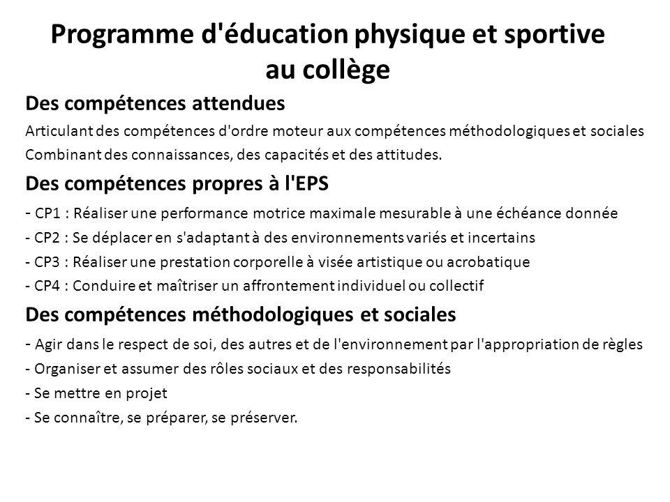 Programme d'éducation physique et sportive au collège Des compétences attendues Articulant des compétences d'ordre moteur aux compétences méthodologiq