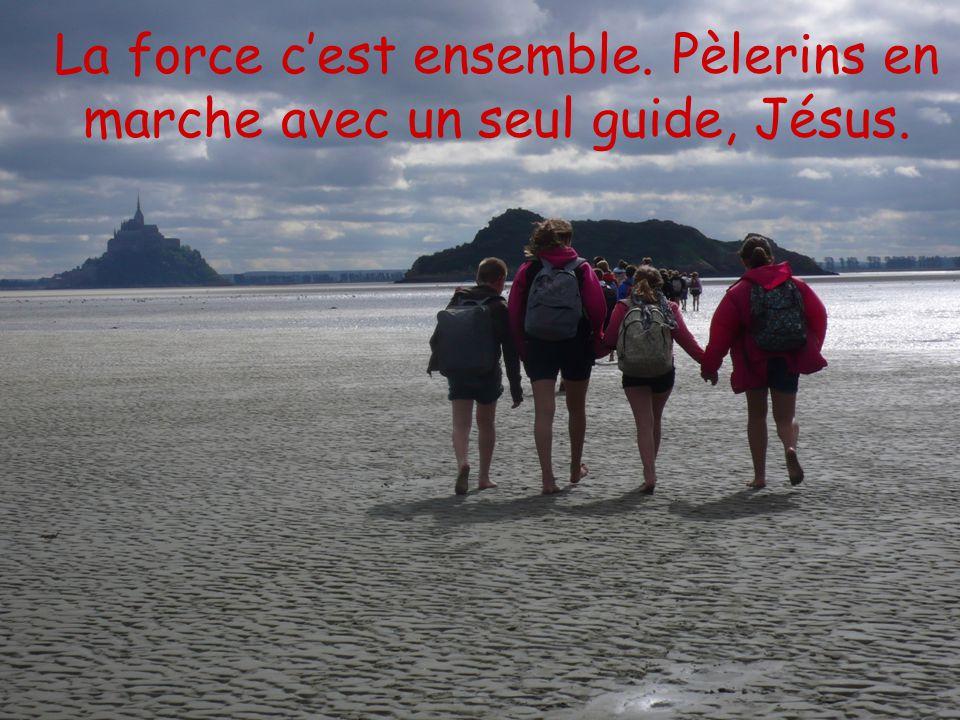 La force cest ensemble. Pèlerins en marche avec un seul guide, Jésus.