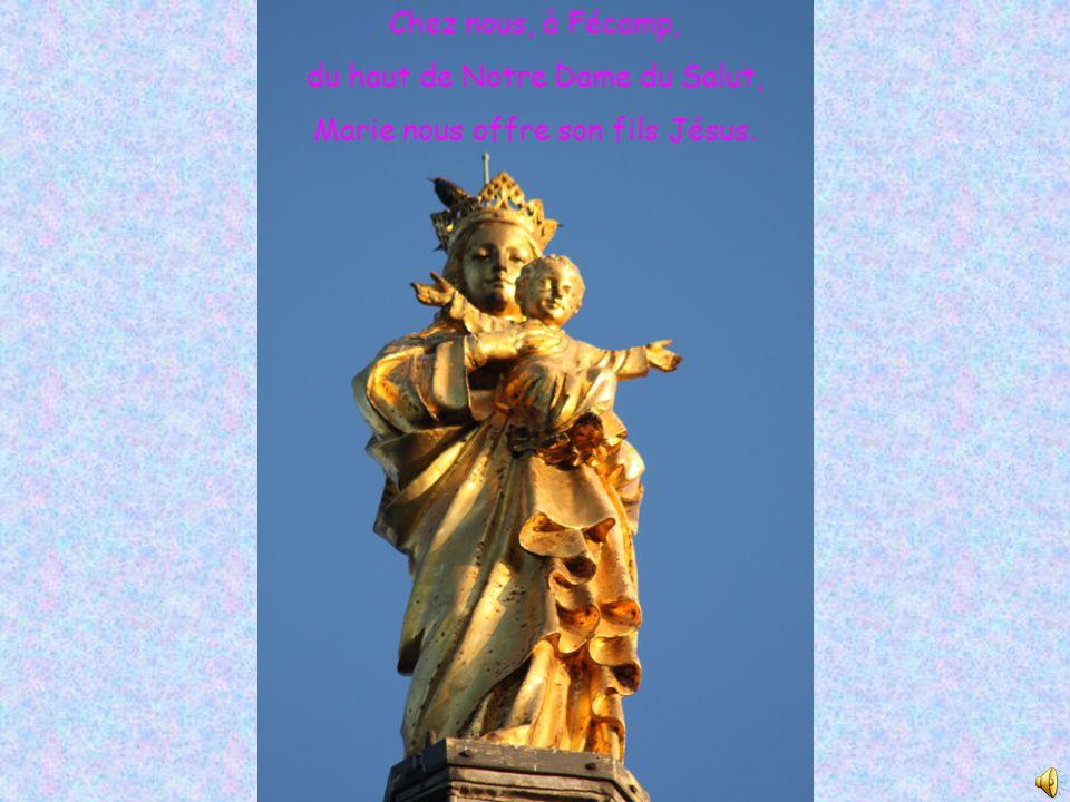 Chez nous, à Fécamp, du haut de Notre Dame du Salut, Marie nous offre son fils Jésus.