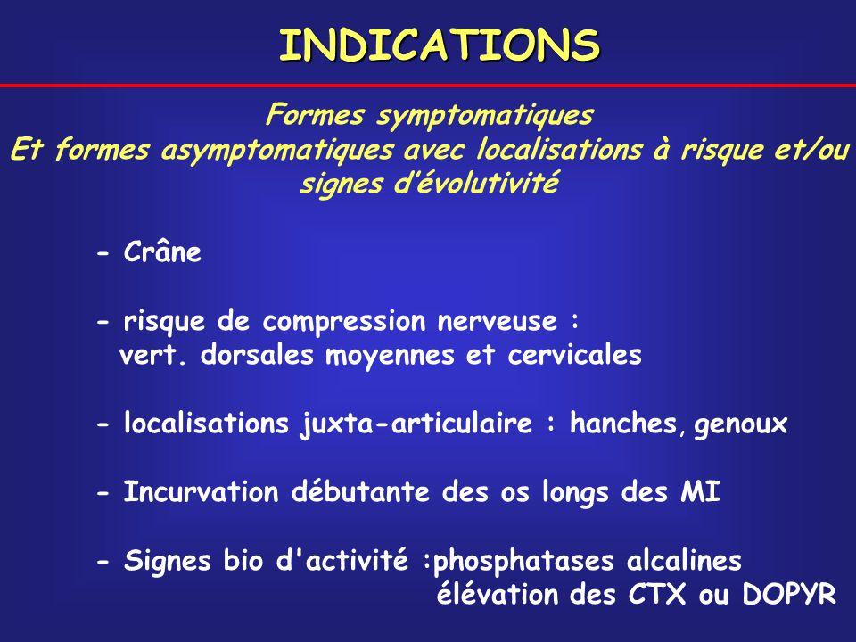 Formes symptomatiques Et formes asymptomatiques avec localisations à risque et/ou signes dévolutivité - Crâne - risque de compression nerveuse : vert.