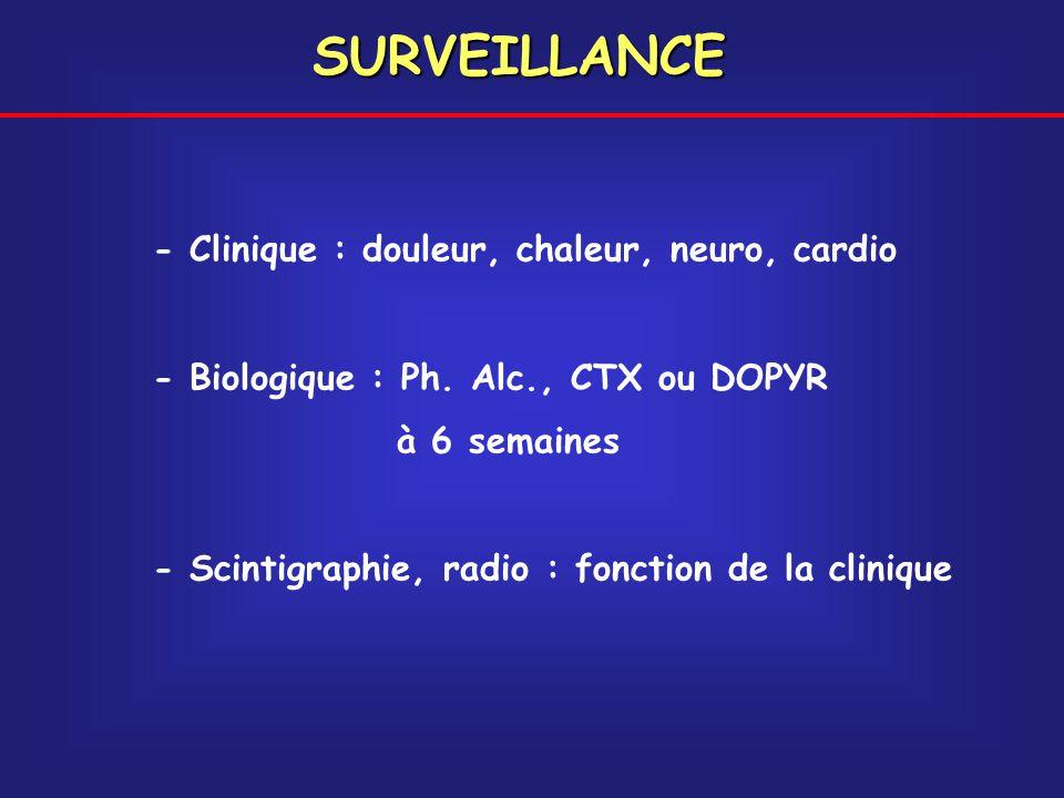 - Clinique : douleur, chaleur, neuro, cardio - Biologique : Ph. Alc., CTX ou DOPYR à 6 semaines - Scintigraphie, radio : fonction de la clinique SURVE