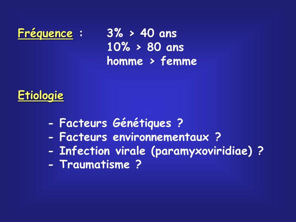 Fréquence Fréquence :3% > 40 ans 10% > 80 ans homme > femme Etiologie - Facteurs Génétiques ? - Facteurs environnementaux ? - Infection virale (paramy
