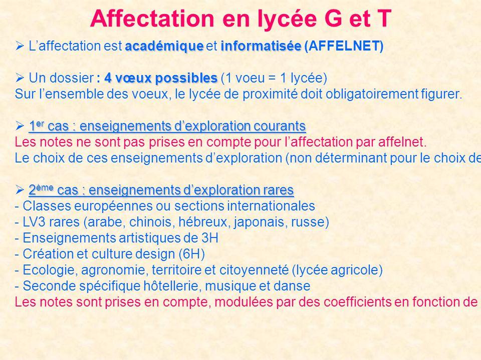 Affectation en lycée G et T académiqueinformatisée Laffectation est académique et informatisée (AFFELNET) 4 vœux possibles Un dossier : 4 vœux possibl