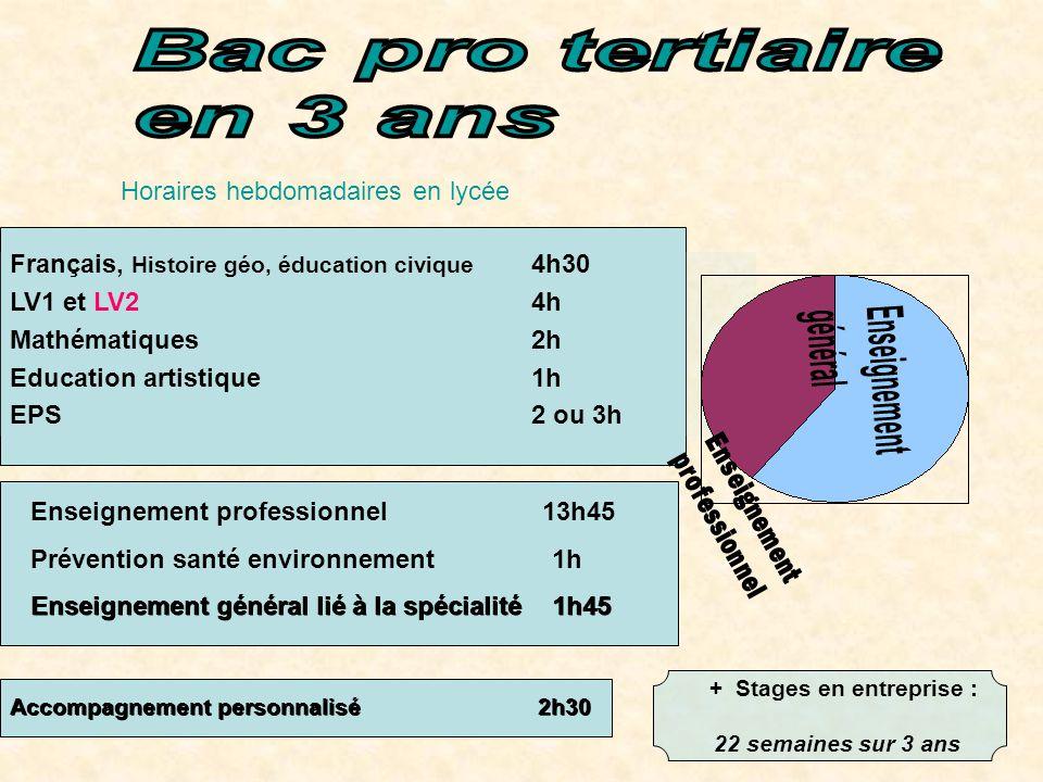 Horaires hebdomadaires en lycée Français, Histoire géo, éducation civique 4h30 LV1 et LV24h Mathématiques 2h Education artistique 1h EPS 2 ou 3h + Sta
