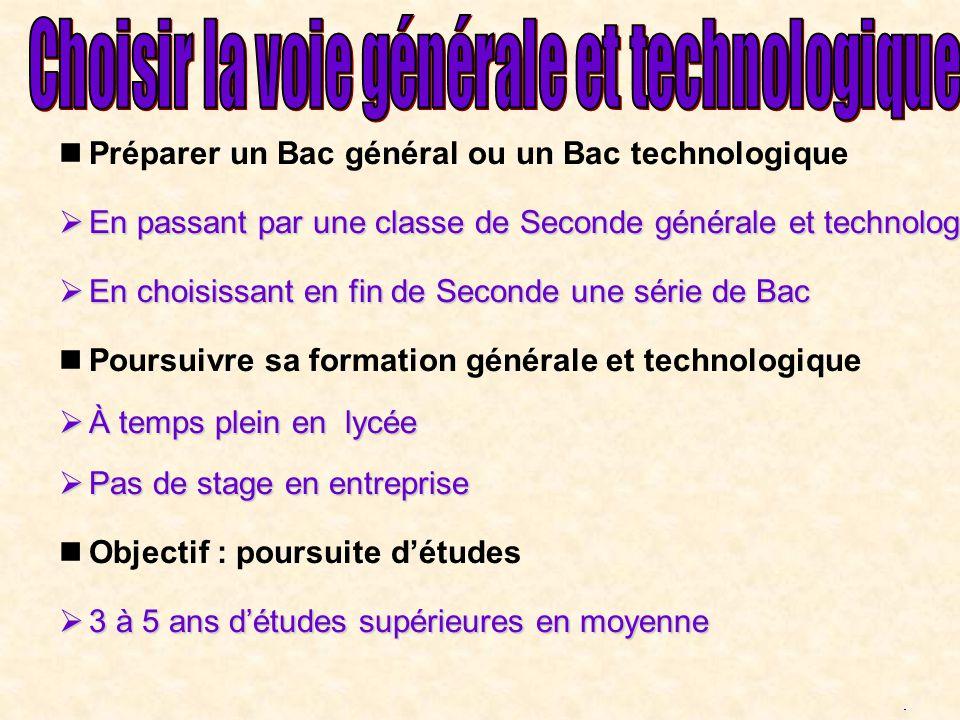 Préparer un Bac général ou un Bac technologique En passant par une classe de Seconde générale et technologique En passant par une classe de Seconde gé