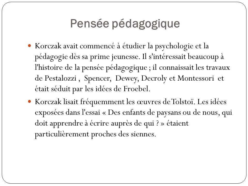 Pensée pédagogique Korczak avait commencé à étudier la psychologie et la pédagogie dès sa prime jeunesse. Il s'intéressait beaucoup à l'histoire de la