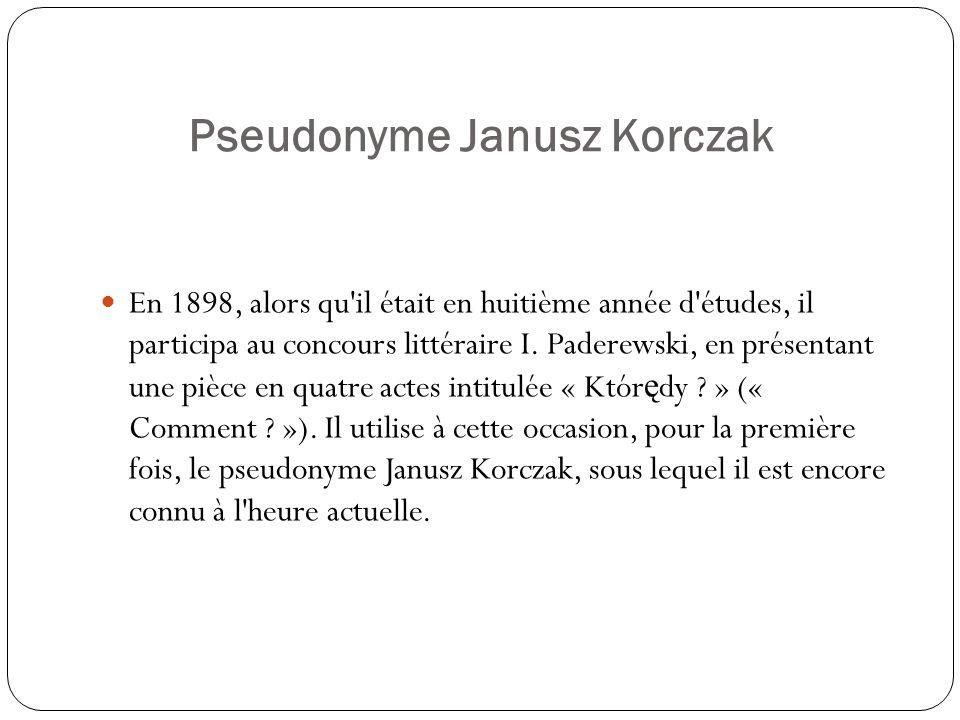 Pseudonyme Janusz Korczak En 1898, alors qu'il était en huitième année d'études, il participa au concours littéraire I. Paderewski, en présentant une
