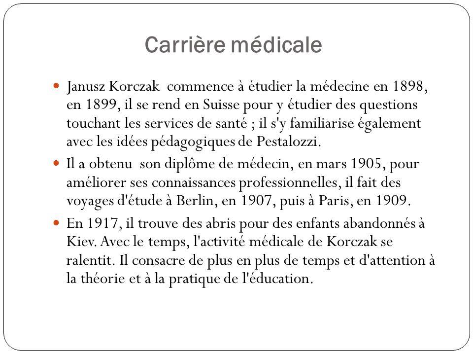 Carrière médicale Janusz Korczak commence à étudier la médecine en 1898, en 1899, il se rend en Suisse pour y étudier des questions touchant les servi