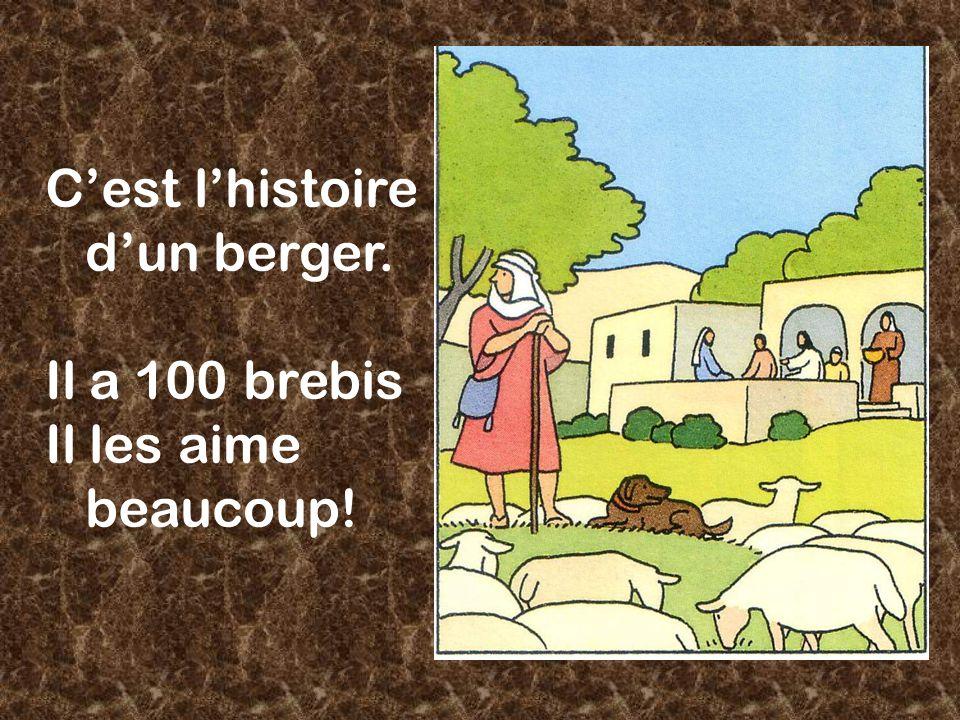 Cest lhistoire dun berger. Il a 100 brebis Il les aime beaucoup!