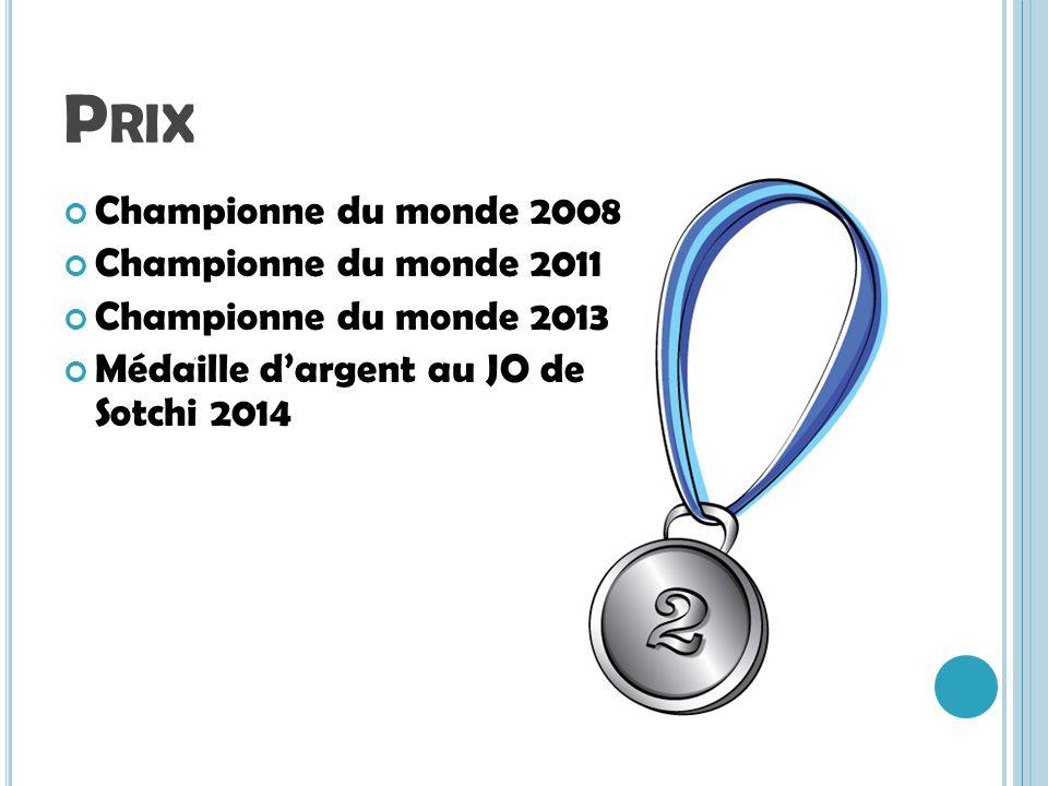 P RIX Championne du monde 2008 Championne du monde 2011 Championne du monde 2013 Médaille dargent au JO de Sotchi 2014