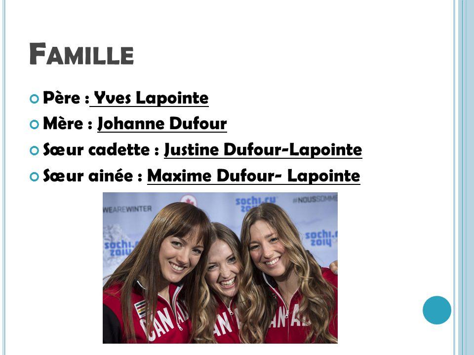 F AMILLE Père : Yves Lapointe Mère : Johanne Dufour Sœur cadette : Justine Dufour-Lapointe Sœur ainée : Maxime Dufour- Lapointe