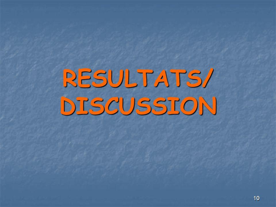 10 RESULTATS/ DISCUSSION