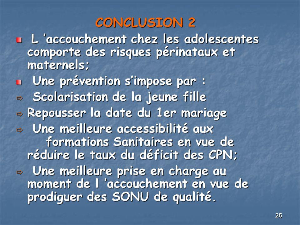 25 CONCLUSION 2 L accouchement chez les adolescentes comporte des risques périnataux et maternels; L accouchement chez les adolescentes comporte des r