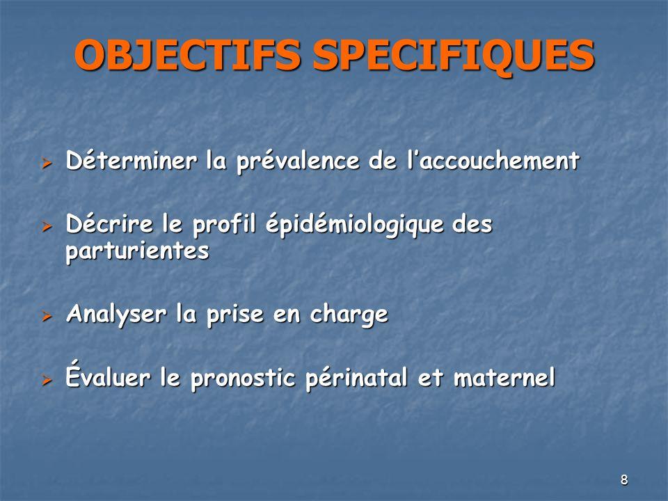 8 OBJECTIFS SPECIFIQUES Déterminer la prévalence de laccouchement Déterminer la prévalence de laccouchement Décrire le profil épidémiologique des part