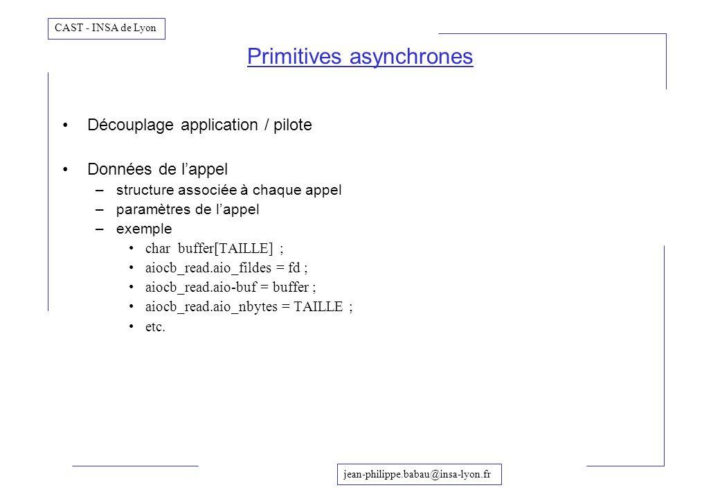 jean-philippe.babau@insa-lyon.fr CAST - INSA de Lyon Découplage application / pilote Données de lappel –structure associée à chaque appel –paramètres