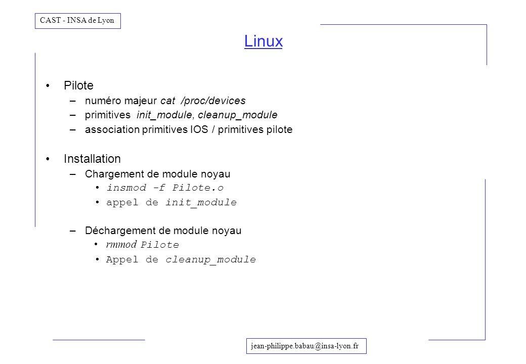 jean-philippe.babau@insa-lyon.fr CAST - INSA de Lyon Linux Pilote –numéro majeur cat /proc/devices –primitives init_module, cleanup_module –associatio