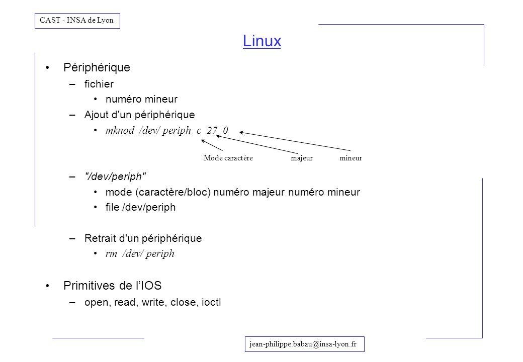 jean-philippe.babau@insa-lyon.fr CAST - INSA de Lyon Périphérique –fichier numéro mineur –Ajout d'un périphérique mknod /dev/ periph c 27 0 –
