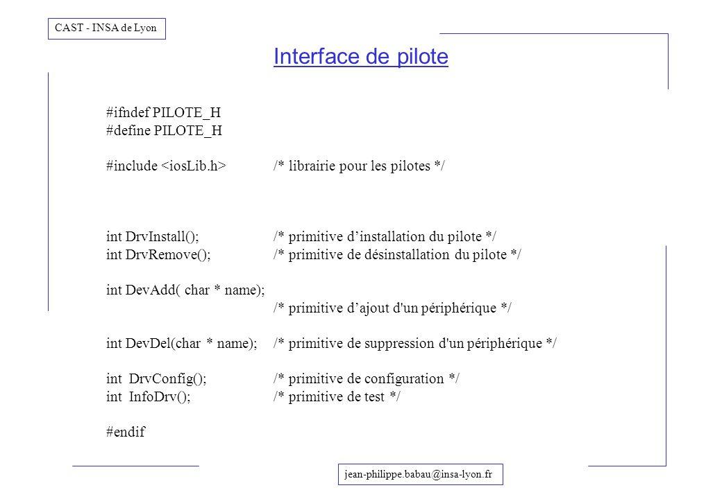 jean-philippe.babau@insa-lyon.fr CAST - INSA de Lyon Interface de pilote #ifndef PILOTE_H #define PILOTE_H #include /* librairie pour les pilotes */ i