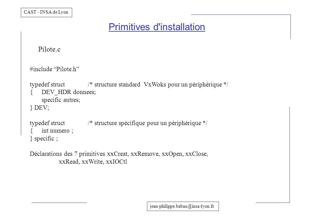 jean-philippe.babau@insa-lyon.fr CAST - INSA de Lyon Primitives d'installation #include Pilote.h typedef struct /* structure standard VxWoks pour un p