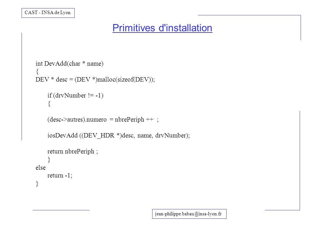 jean-philippe.babau@insa-lyon.fr CAST - INSA de Lyon Primitives d'installation int DevAdd(char * name) { DEV * desc = (DEV *)malloc(sizeof(DEV)); if (