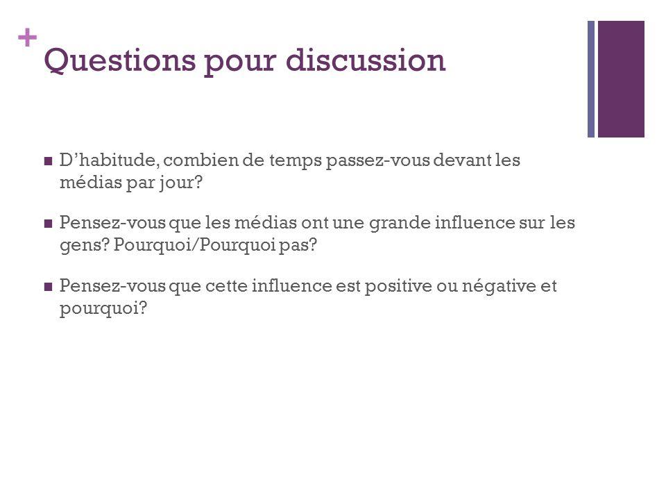 + Questions pour discussion Dhabitude, combien de temps passez-vous devant les médias par jour? Pensez-vous que les médias ont une grande influence su